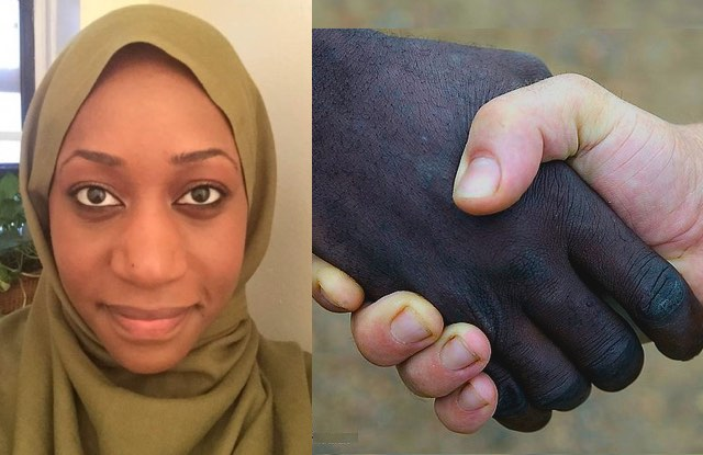 Muslim woman with bi-racial-handshake-cc-Defence Images-GNNmashup-