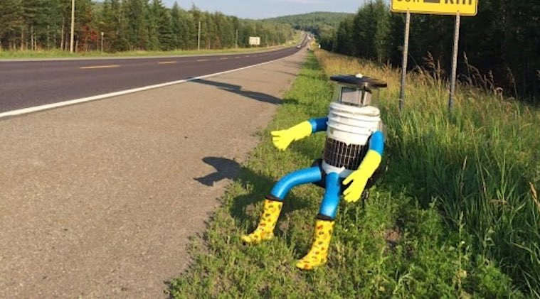 hitchbot on highway