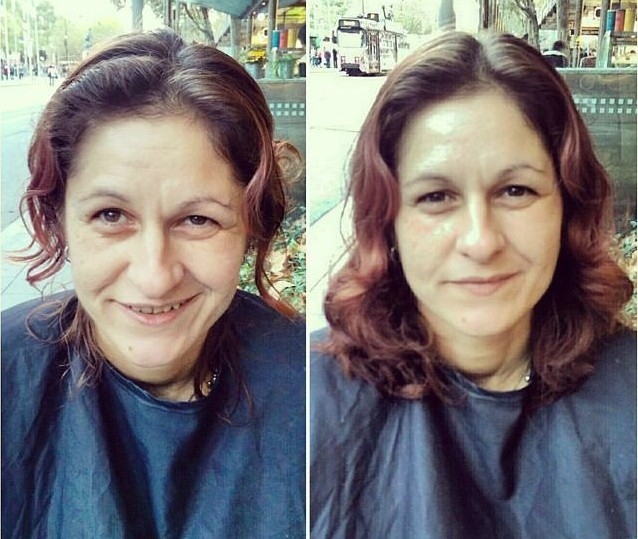 homeless woman haircut nasir sohbani instagram