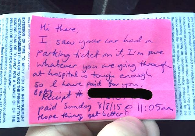 parking ticket note Facebook
