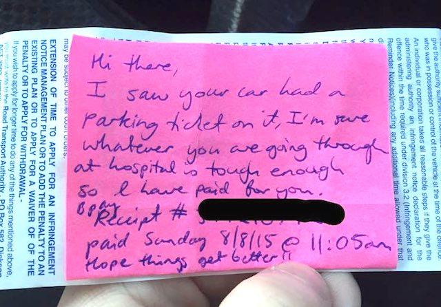 parking ticket note Facebook