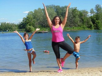 workout with kids on beach tree pose FLYAROO Fitness