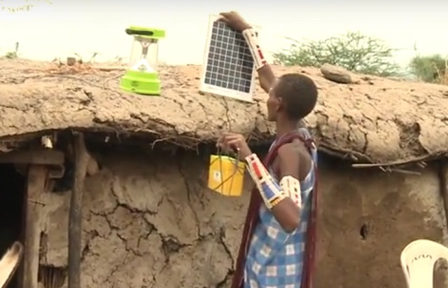 maasai woman installing solar panel screenshot CCTV Africa