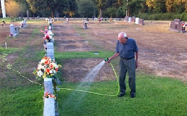Man Sprinkles Compassion On Fallen Soldier S Grave During