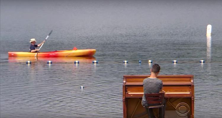 piano around the world kayak screenshot CBS News