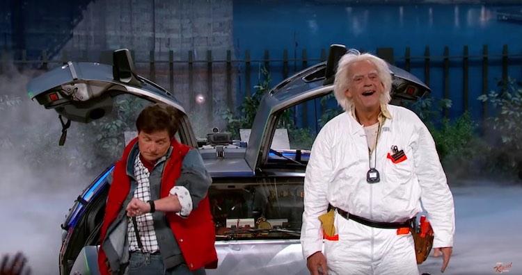 Marty and Doc Brown Michael J Fox Christopher Lloyd screenshot Jimmy Kimmel