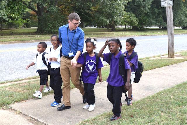Teacher Walks Kids 2 Facebook Whitney Achievement Elementary School