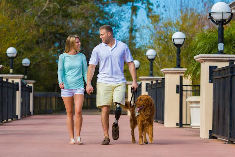 couple walking dog permission Brad Hall Studios