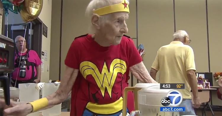 mary cotter wonder woman costume kabc video screenshot