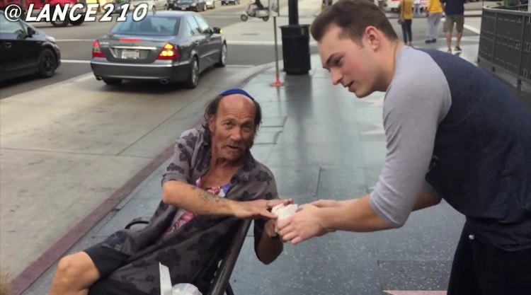 Lance Stewart hands out burger to yamaca guy youtube video screenshot