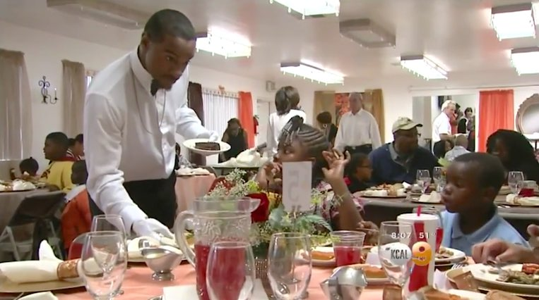Waiter serves homeless families-KCBS-youtube