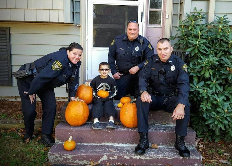 pumpkins for boy- with Wilmington MA Police Department-FB