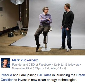 Mark Zuckerberg FB post-with Gates-screengrab
