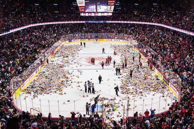 Record Teddy Bear Toss Instagram Calgary Hitmen