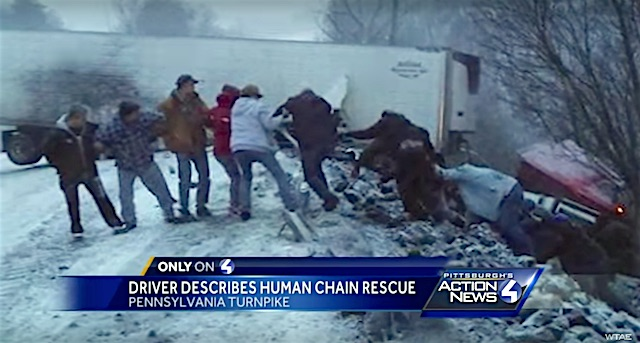 Human Chain Rescue screenshot Arlyn Satanek and WTAE