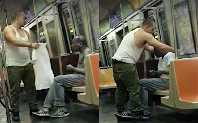 Passenger gives Shirt to Homeless Man Facebook Läzaro El Feo