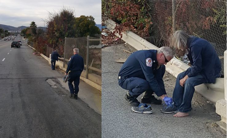 Riverside Fire Dept gives shoes to homeless man