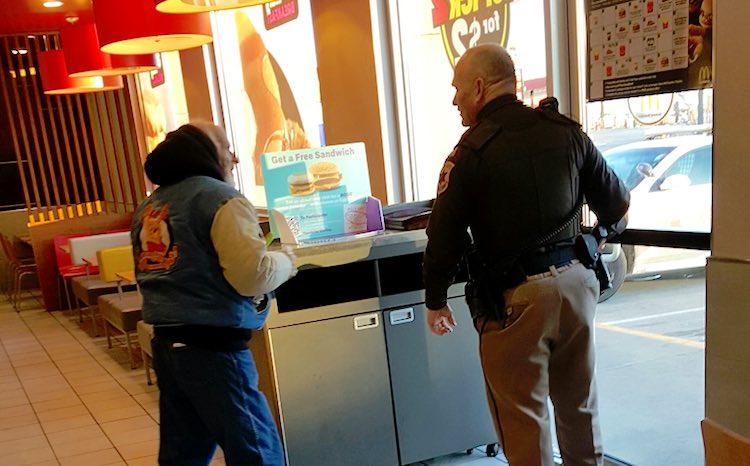 officer and homeless man Facebook Alex Fischbach