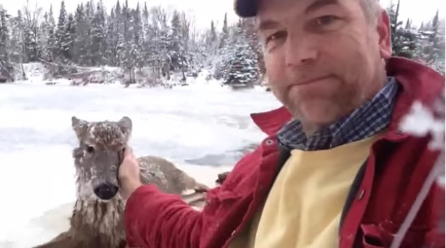 steven peterson pets frozen deer-youtube