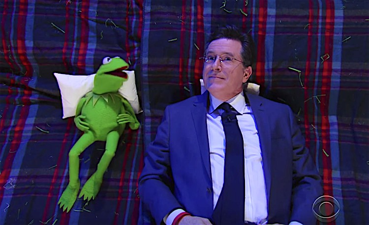 Kermit and Steven Colbert screenshot The Late Show
