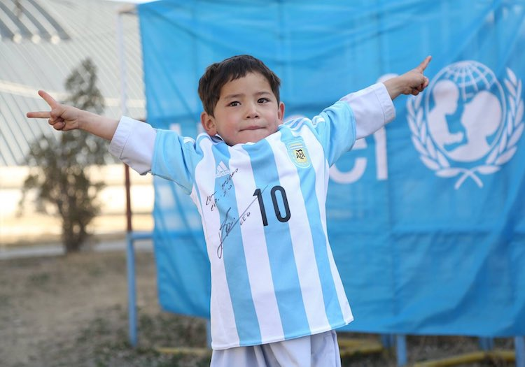 Messi shirt on boy -UNICEF Afghanistan
