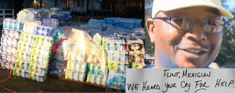SC man drives water to Michigan -mash up of photos