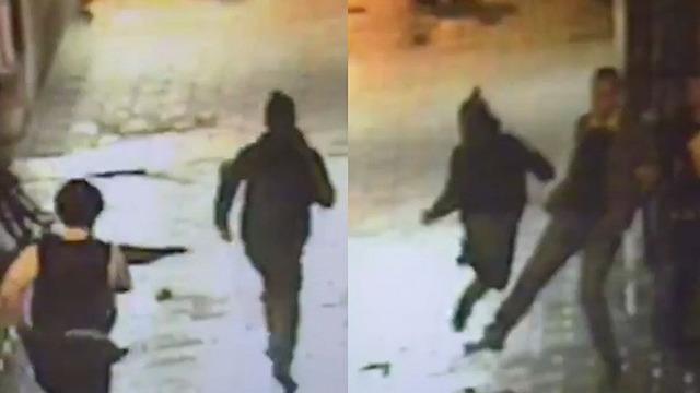 man trips suspect fleeing police-FB video