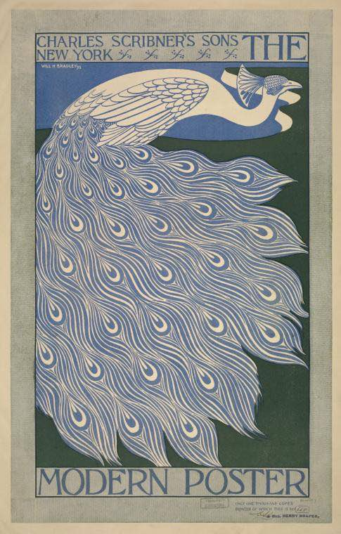 nypl.art poster peacock Will Bradley 1895