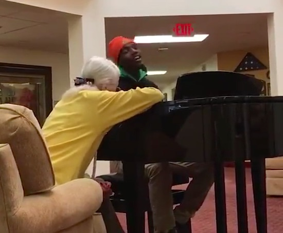 AJ Carter Johnson piano retirement home-submitted-College Hunks moving