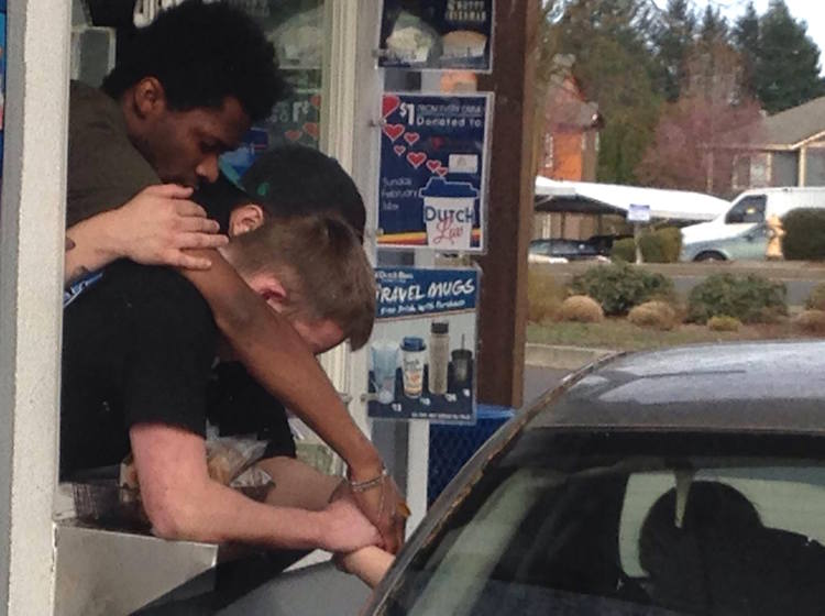 coffee employees pray with customer in drive thru-BarbaraDanner-FB-750