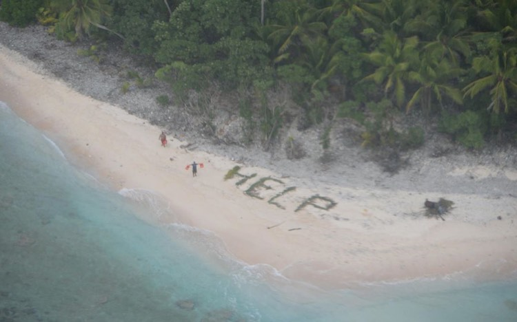 HELP message on beach rescue US Navy