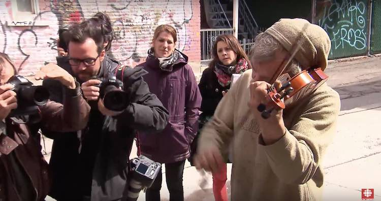 Mark Landry Homeless violin stolen screenshot CBC