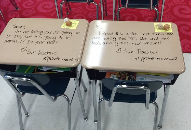Inspiration quotes on desks-Woodbury City Public Schools-FB
