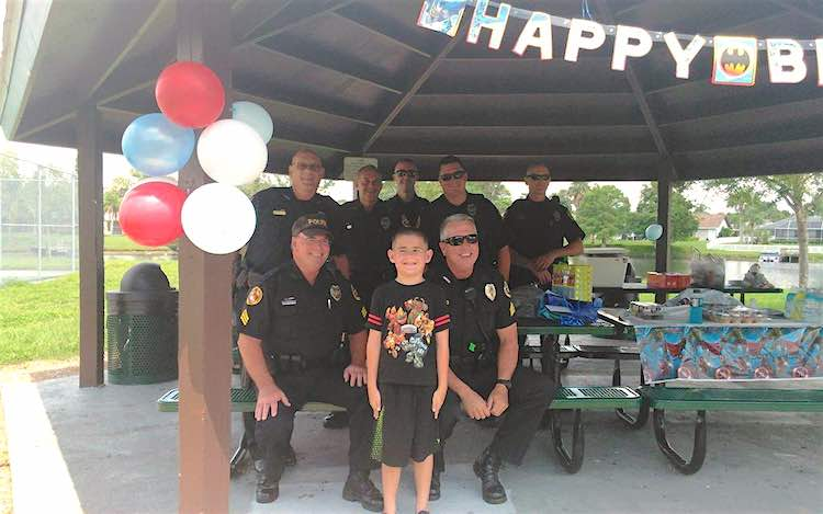Cops Attend Autistic Boys Birthday FB North Port PD