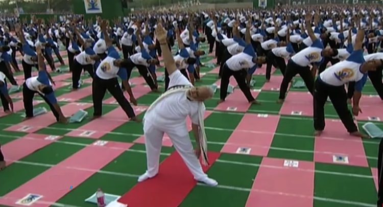 India PM Narendra Modi does yoga-cc tv