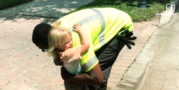 garbage man hugs toddler-FB released video