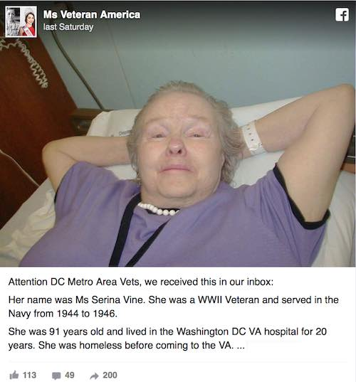 woman veteran in hospital-FB post