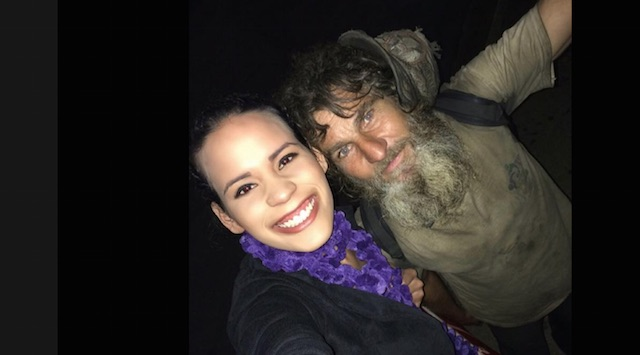 homeless man and student-Caroline Santana