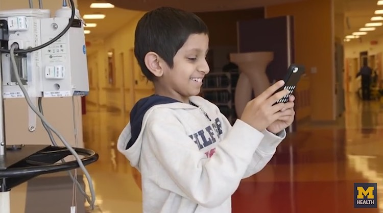 patient gaming on phone Mott Children's Hospital released