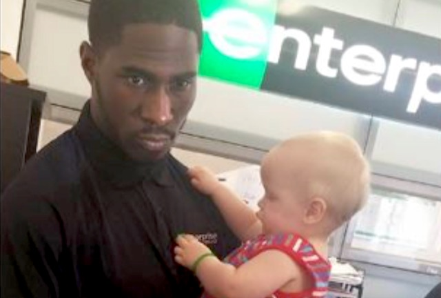 Enterprise Rental Car Employee Holds Baby -Coty Vincent Facebook