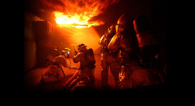 Firefighters in Blaze-USAF