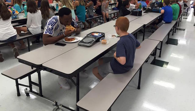 Travis Rudolph and Boy at Lunch – Facebook