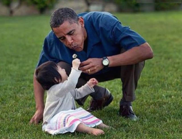 President Obama With Dandelion Girl