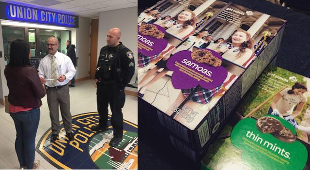 Girl Scouts and Police-CC Jere Keyes and Union City PD