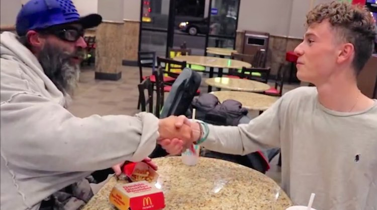 Homeless Jason shakes hands with youth-submitted Matthew Bilodeau