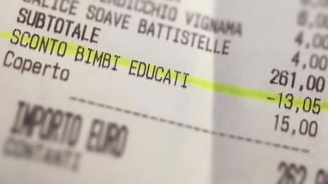 Italian Child Discount Receipt-Facebook