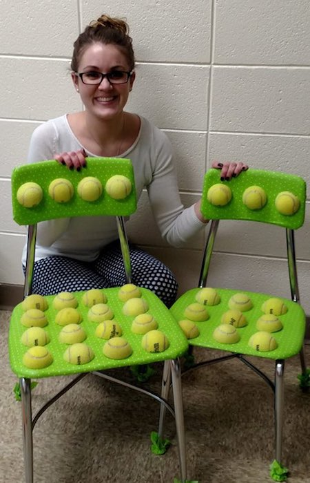 Teacher Creates Chairs From Tennis Balls to Soothe
