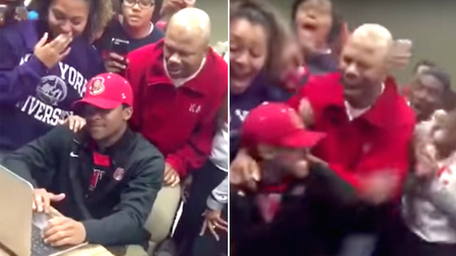 Watch Students Go Nuts When Classmate is Accepted into
