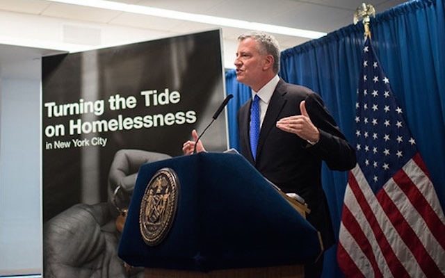 New York City Mayor Bill de Blasio announces a comprehensive borough-based plan to reduce the footprint of New York City's homeless shelter system and drive down the population relying on shelters at the Federation of Protestant Welfare Agencies on Tuesday, February 28th, 2017. Edwin J. Torres/Mayoral Photo Office.