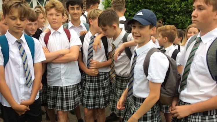 boys win right to wear shorts by wearing skirts in heat